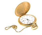 Set of different pocket watches isolated