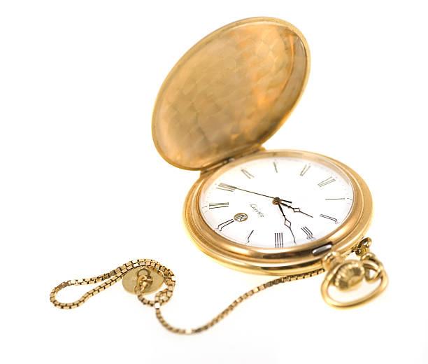 Goldene Taschenuhr, isoliert auf weiss – Foto