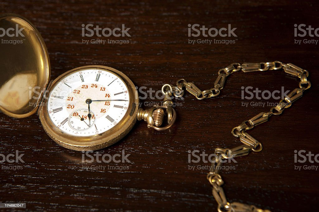 Golden pocket watch stock photo