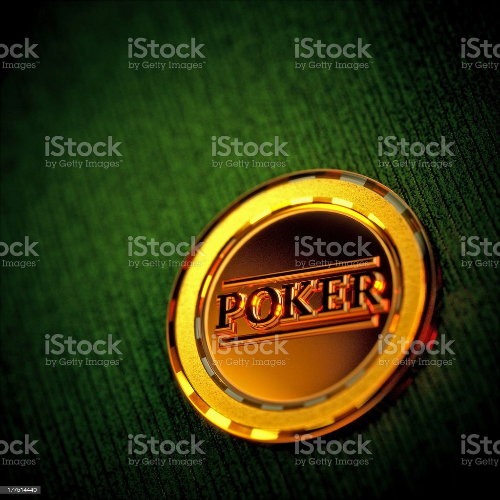 Golden Poker Chip on a green table royalty-free stock photo
