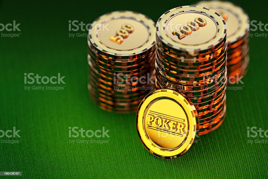 3D Golden poker chips stack on a green table royalty-free stock photo