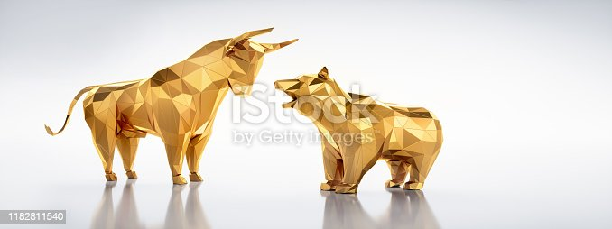 Low Poly faceted Bull and Bear standing on white shiny Background