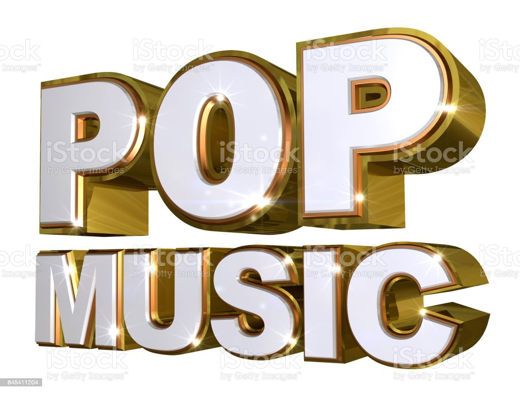 Golden Pop music logo - 3d illustration stock photo