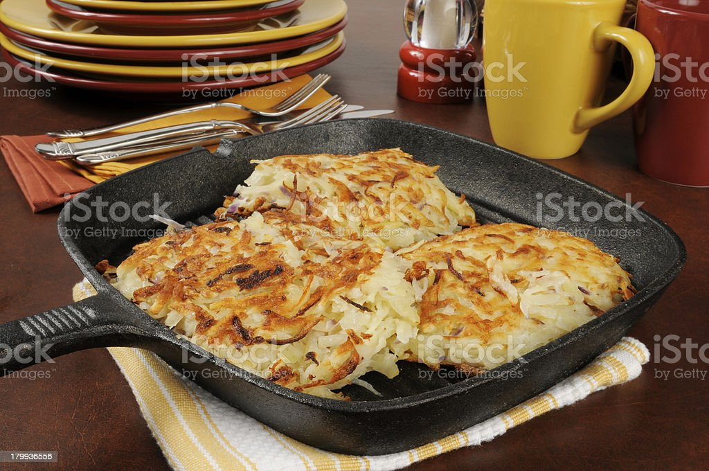 Golden potato latkes stock photo