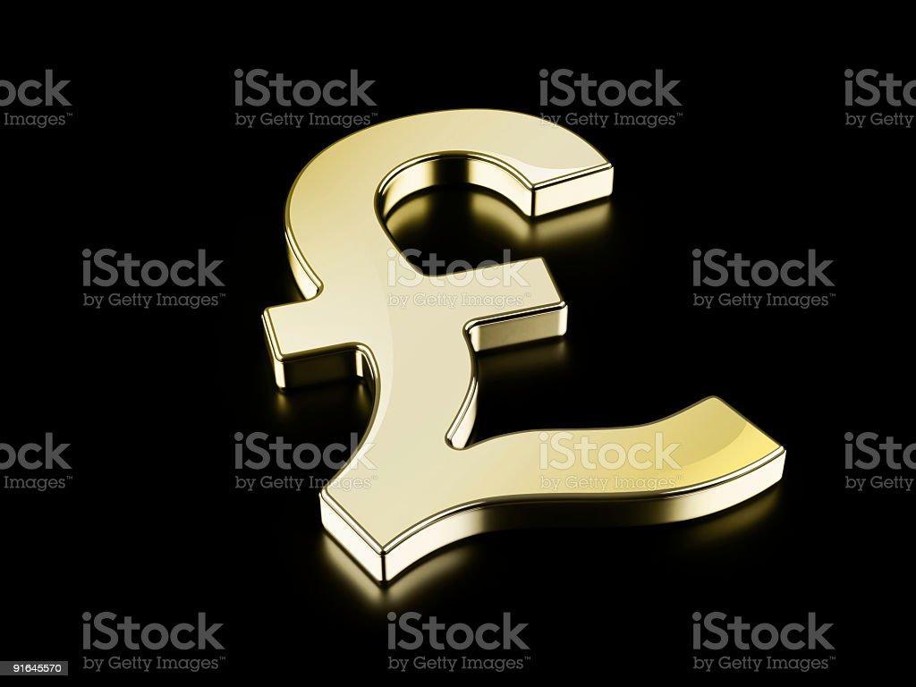 Golden Pound symbol royalty-free stock photo