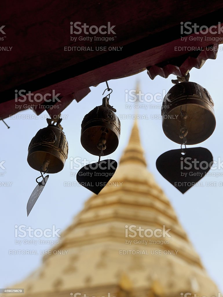 golden prayer bells at the Wat Phrathat Doi Suthep temple royalty-free stock photo