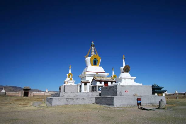 Golden Prayer Stupa in Erdene Zuu Khiid Monastery, part of the Orkhon Valley Cultural Landscape World Heritage Site, in Kharkhorin (Karakorum), Mongolia. stock photo
