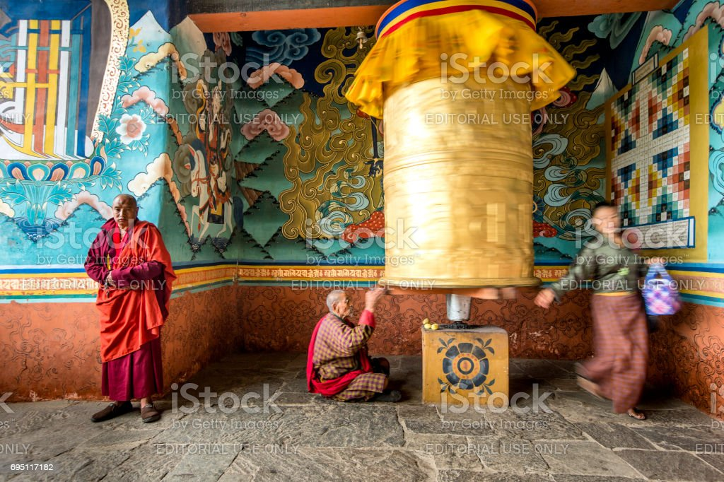 Golden prayer wheel in Bhutan stock photo