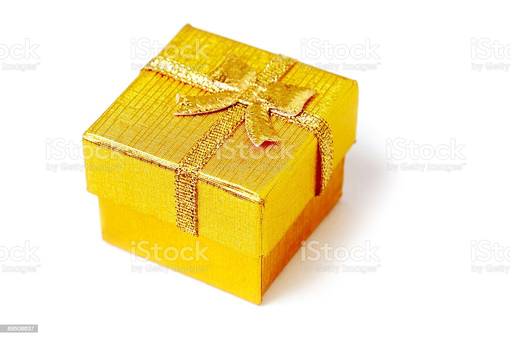Golden present box isolated royalty-free stock photo