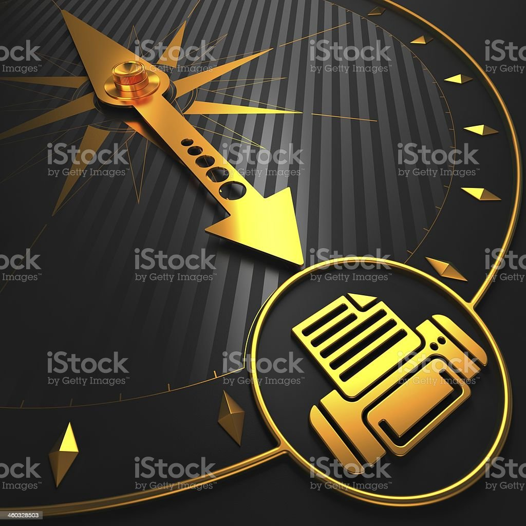 Golden Printer Icon on Black Compass. stock photo
