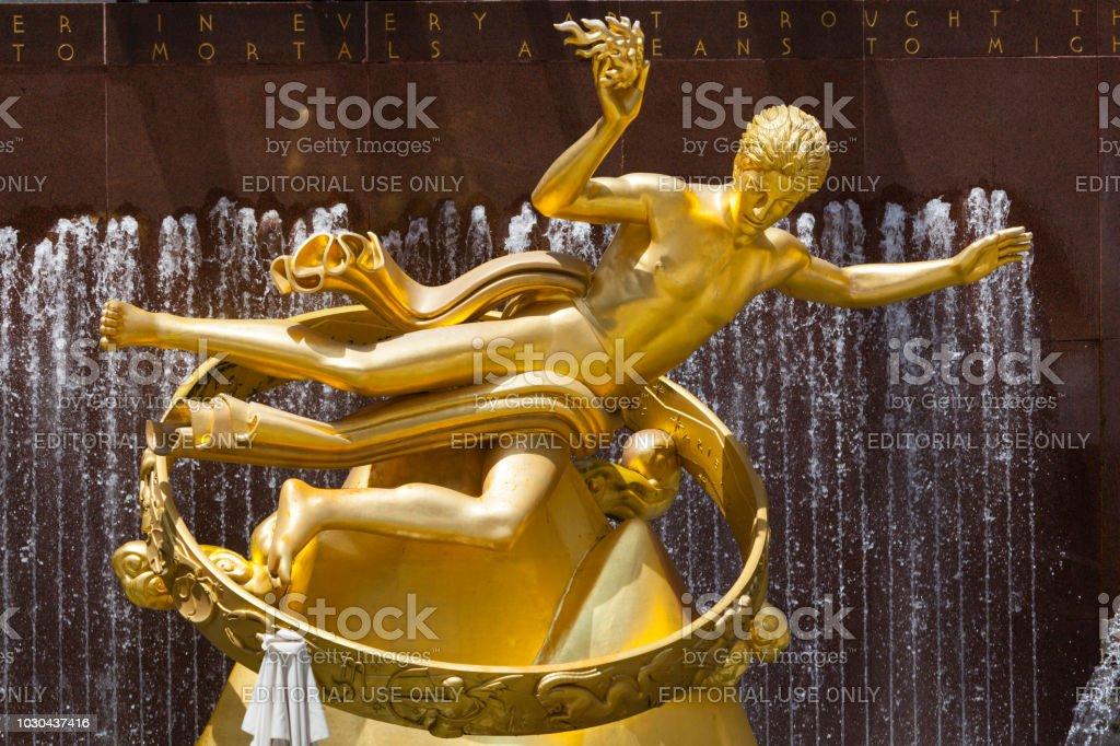 Goldener Prometheus-Statue, redaktionelle – Foto
