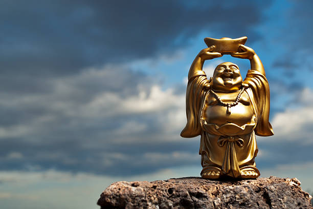 golden prosperity buddha - buddha stock photos and pictures