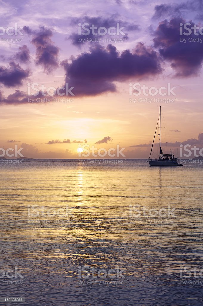 Golden Purple Sunset Sailboat Tranquil Bay royalty-free stock photo