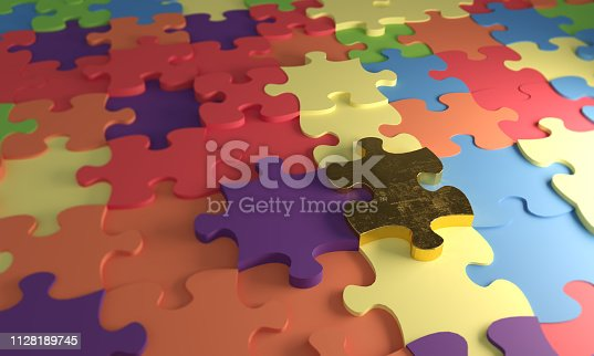 Golden puzzle piece in the middle of multi colored pieces. ( 3d render )