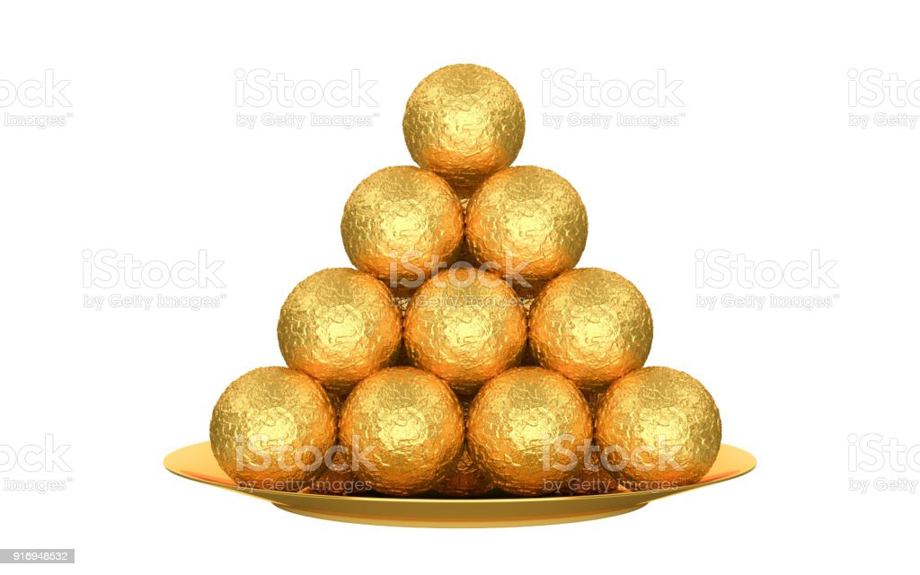 A golden pyramid of sweets in a golden wrapper. isolated white background. 3d render