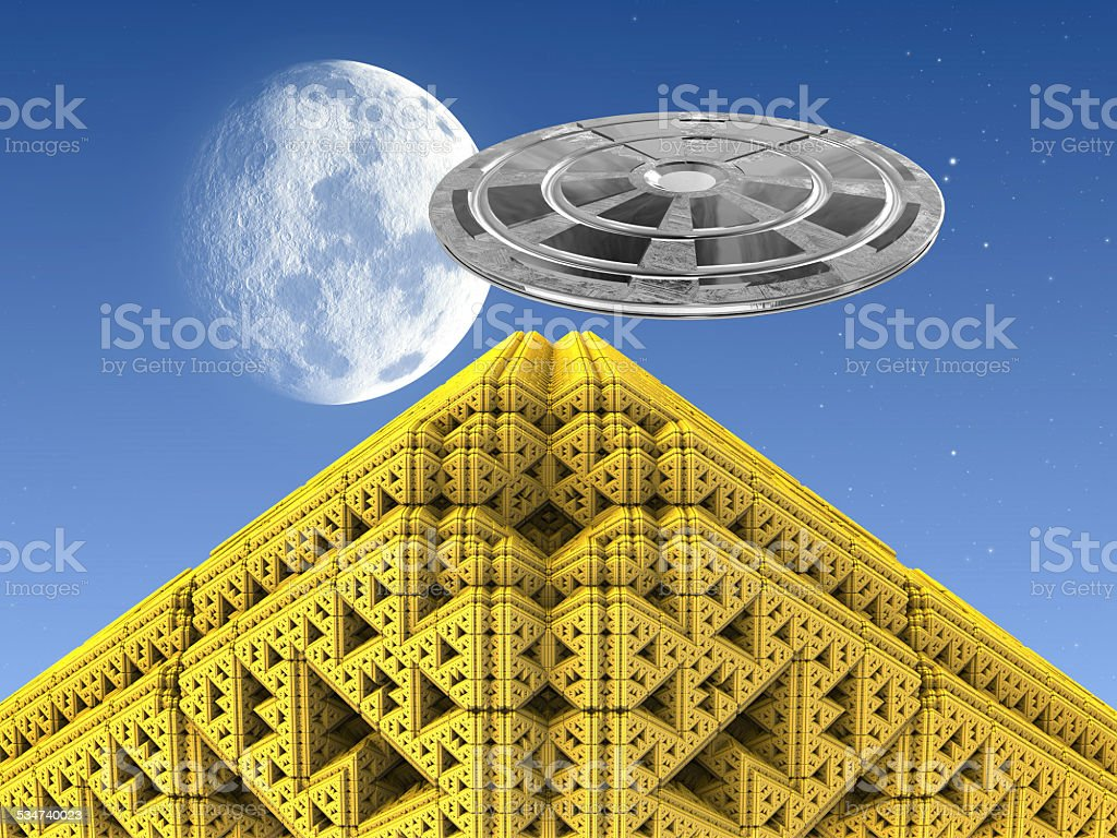 Golden Pyramid with UFO stock photo