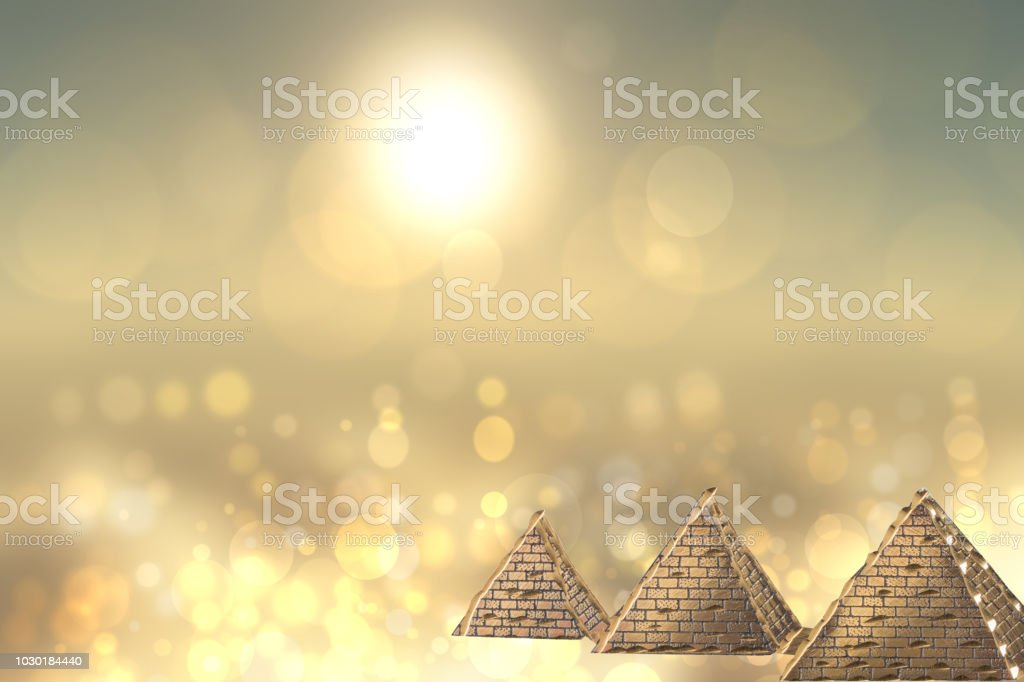 Golden pyramids ancient egypt with golden shinig bokeh background. Egypt template design for travel agency with space for your display product montage. stock photo