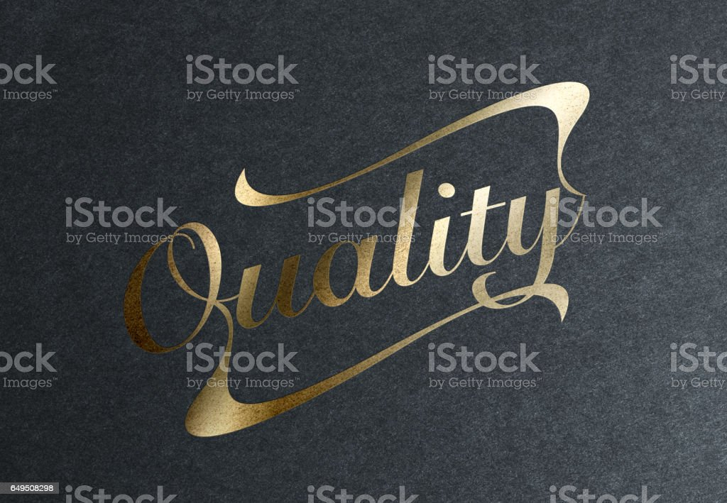 Golden Quality Stamp stock photo