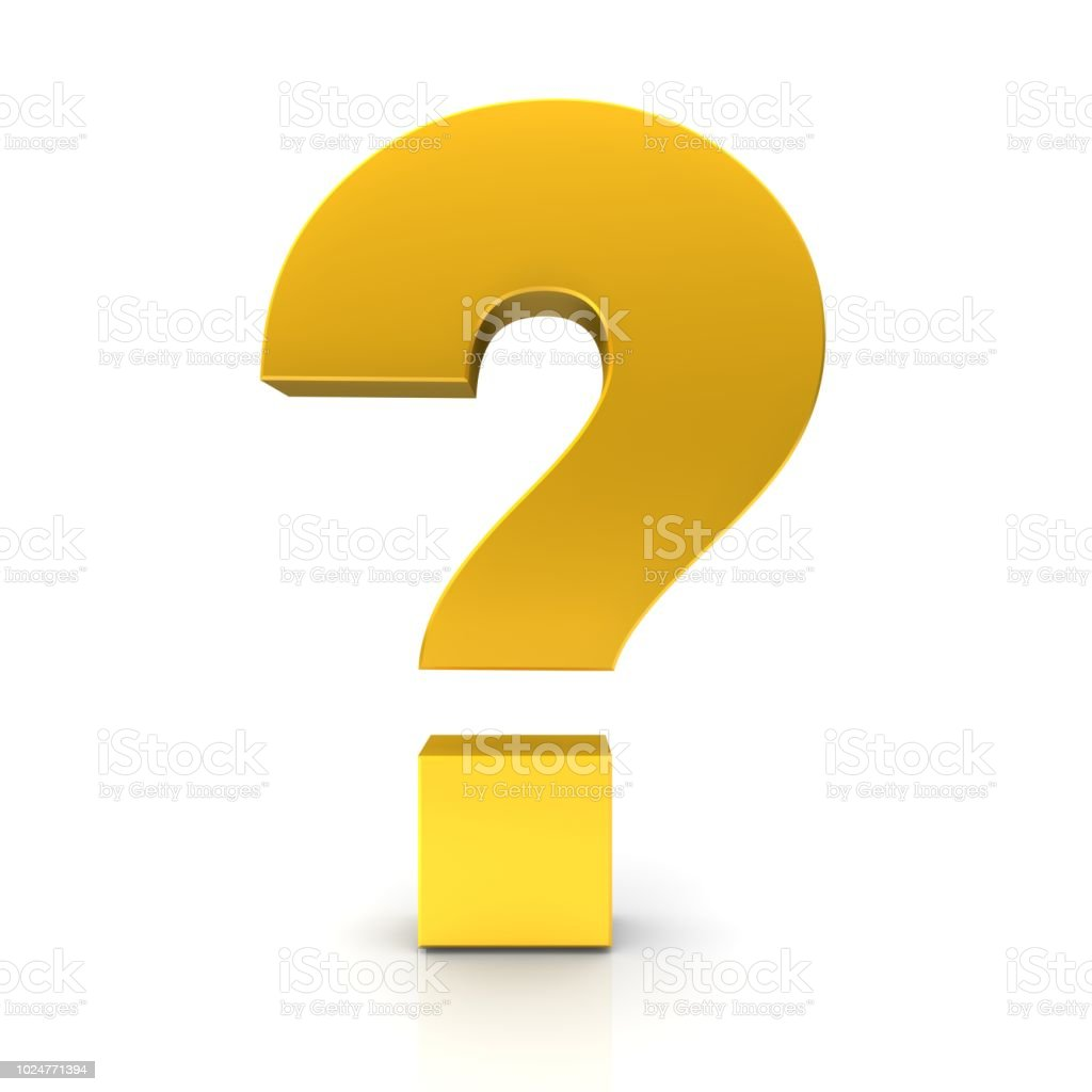 Gouden vraagteken 3d ondervraging punt vragen teken leesteken geïsoleerd op witte achtergrond foto