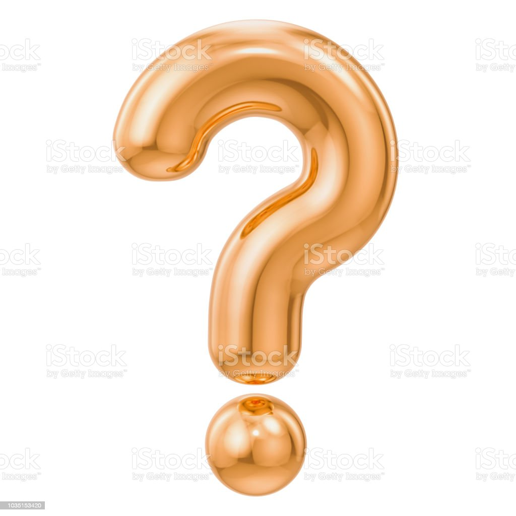 Golden question mark, 3D rendering isolated on white background stock photo