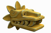 Golden Quetzalcoatl figurehead bearing teeth
