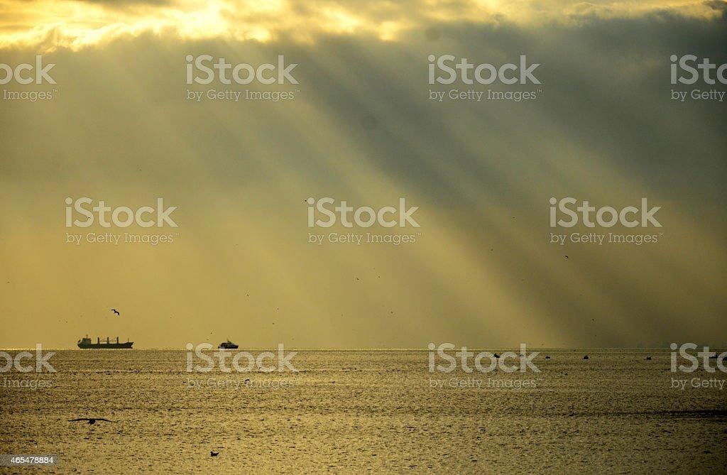 Golden rays of the sun stock photo