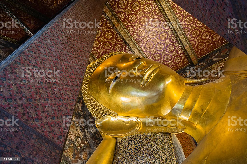 Golden Reclining Buddha at Wat Pho Temple, Thailand stock photo