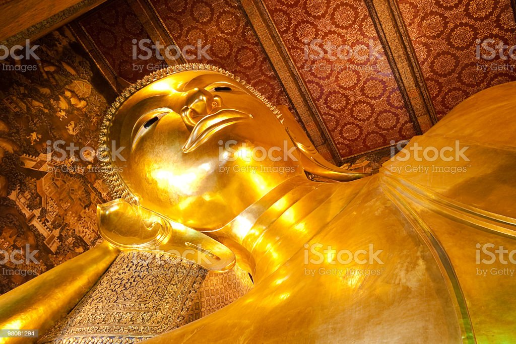 Golden Reclining Buddha, Bangkok royalty-free stock photo