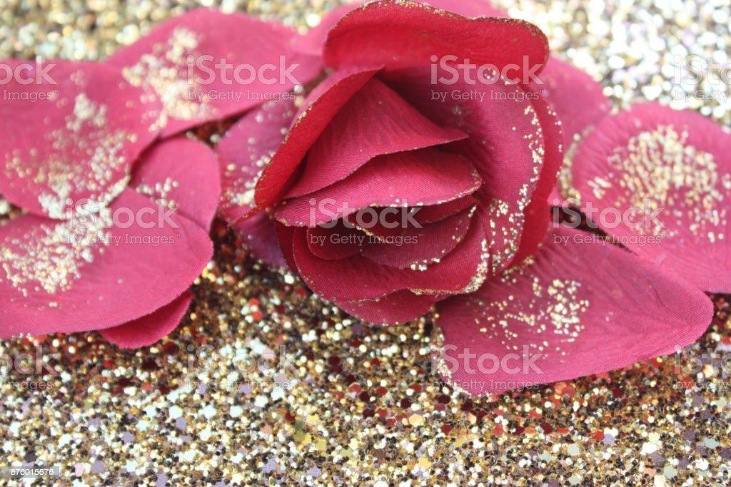 Golden Red Rose Gold Flakes Golden Decorative Rug Stock