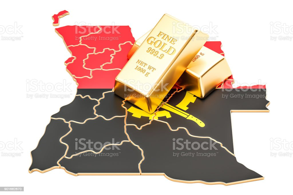 Golden reserves of Angola concept, 3D rendering isolated on white background stock photo