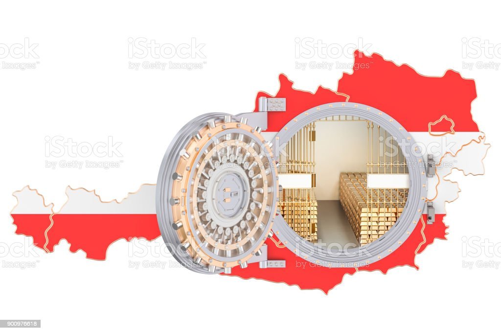 Golden reserves of Austria concept, banking vault with gold bars. 3D rendering isolated on white background stock photo