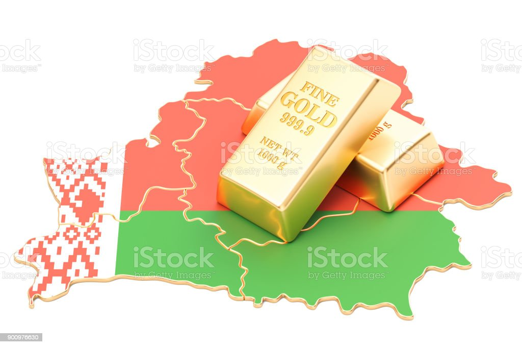 Golden reserves of Belarus concept, 3D rendering isolated on white background stock photo