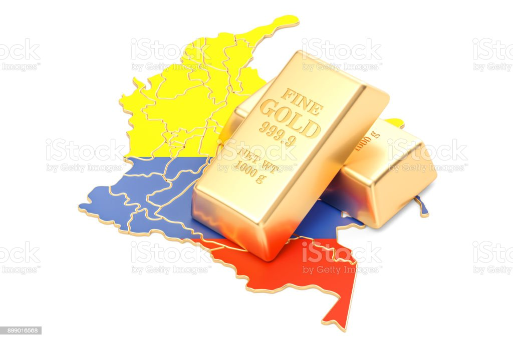 Golden reserves of Colombia concept, 3D rendering isolated on white background stock photo