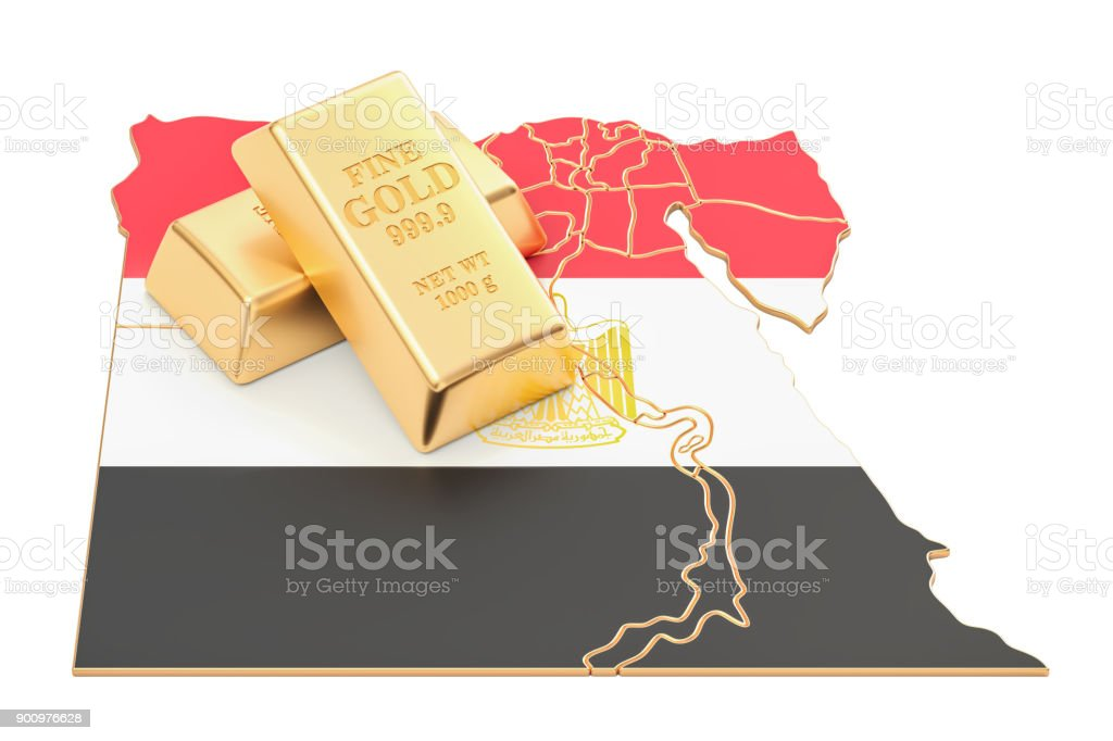 Golden reserves of Egypt concept, 3D rendering isolated on white background stock photo