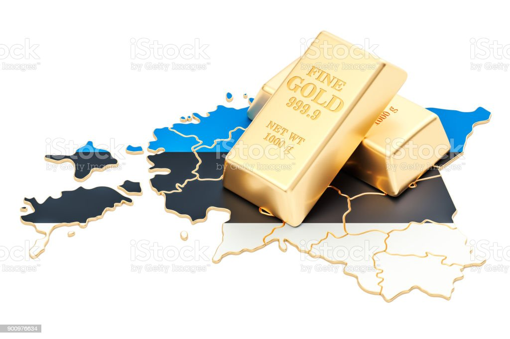 Golden reserves of Estonia concept, 3D rendering isolated on white background stock photo