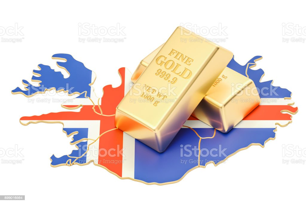 Golden reserves of Iceland concept, 3D rendering isolated on white background stock photo