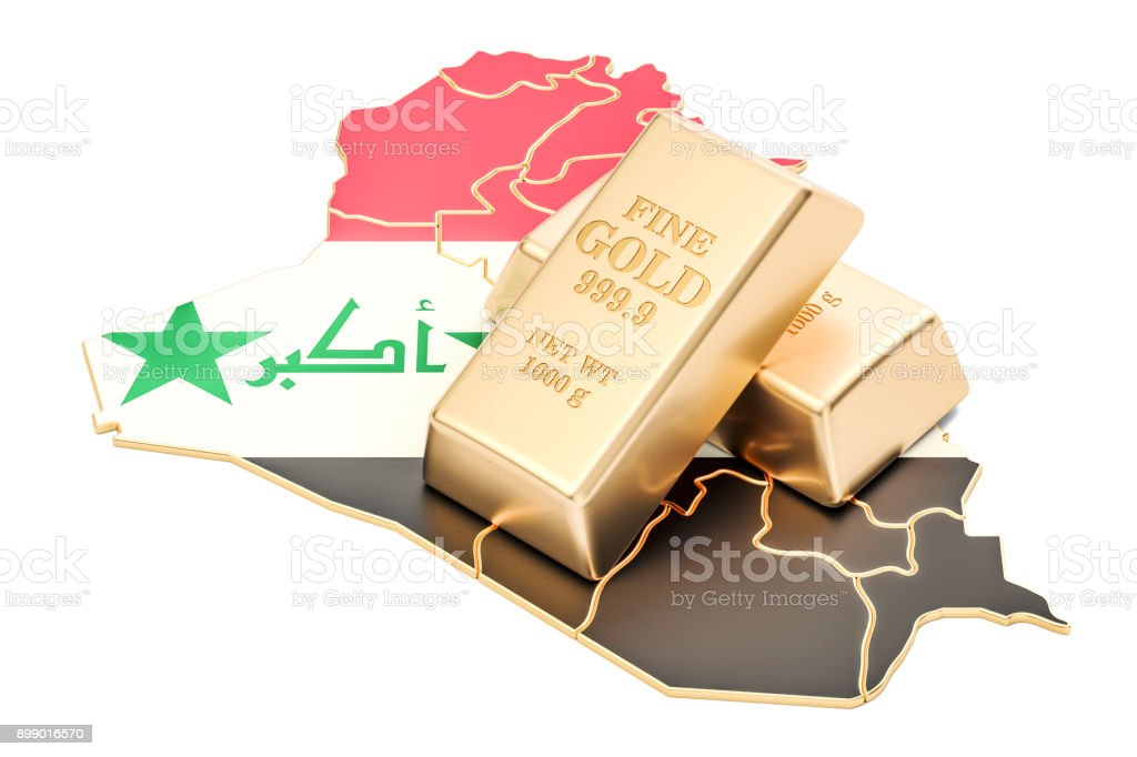 Golden reserves of Iraq concept, 3D rendering isolated on white background stock photo