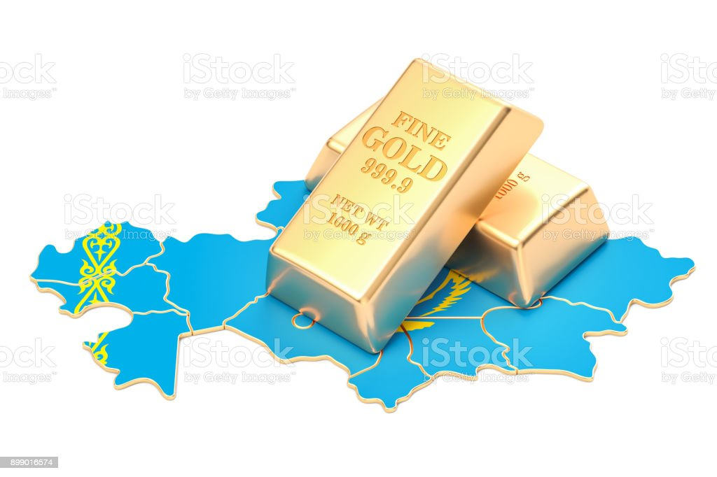 Golden reserves of Kazakhstan concept, 3D rendering stock photo