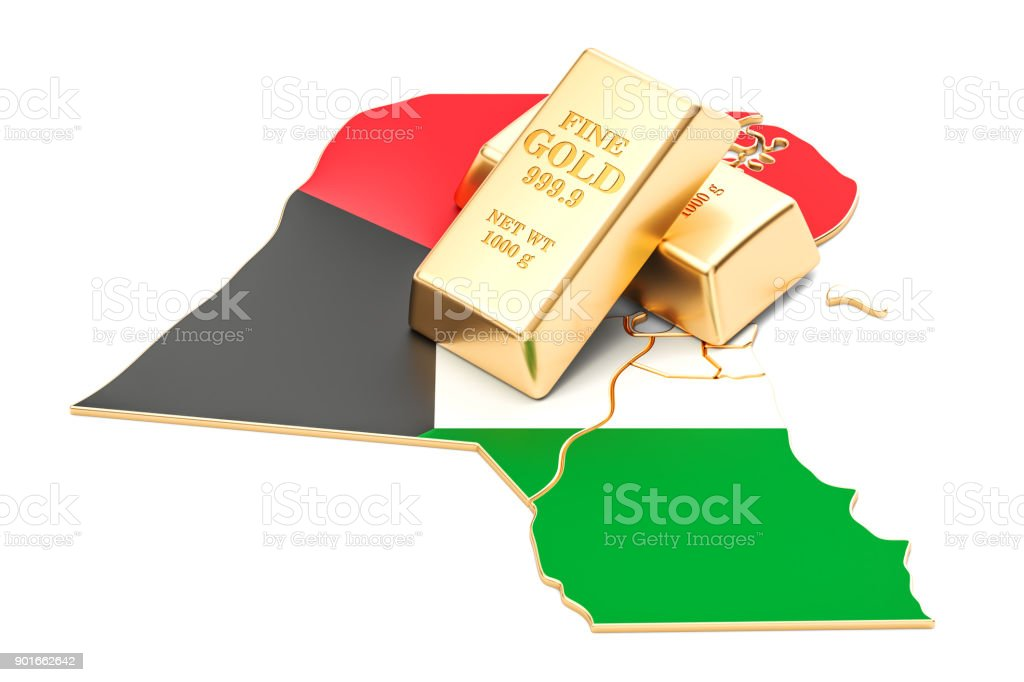 Golden reserves of Kuwait concept, 3D rendering isolated on white background stock photo