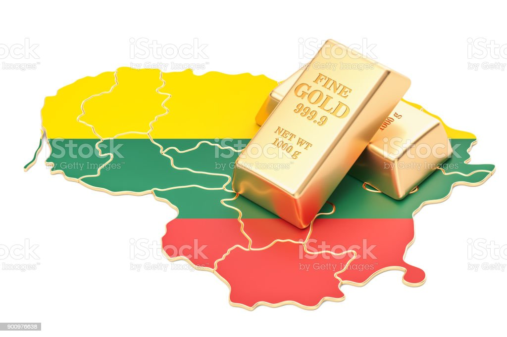 Golden reserves of Lithuania concept, 3D rendering isolated on white background stock photo
