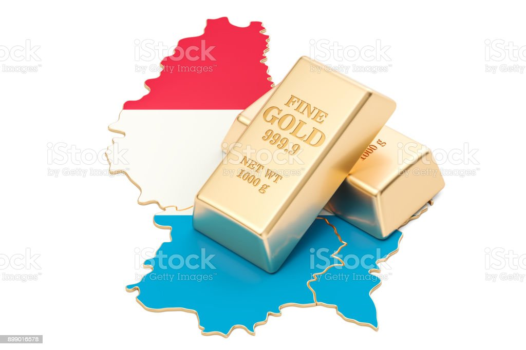 Golden reserves of Luxembourg concept, 3D rendering isolated on white background stock photo
