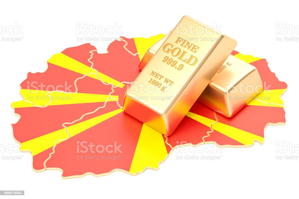 Golden reserves of Macedonia concept, 3D rendering isolated on white background stock photo