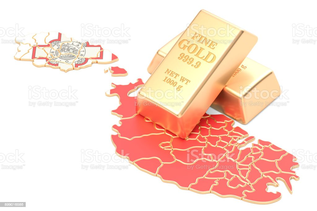 Golden reserves of Malta concept, 3D rendering isolated on white background stock photo