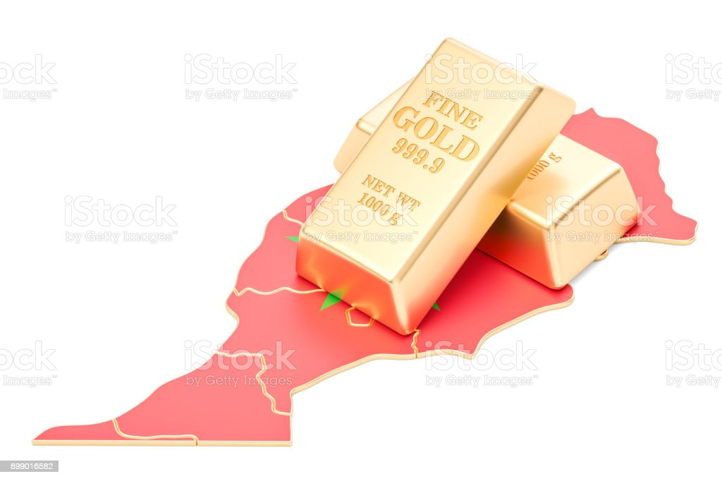 Golden reserves of Morocco concept, 3D rendering isolated on white background stock photo