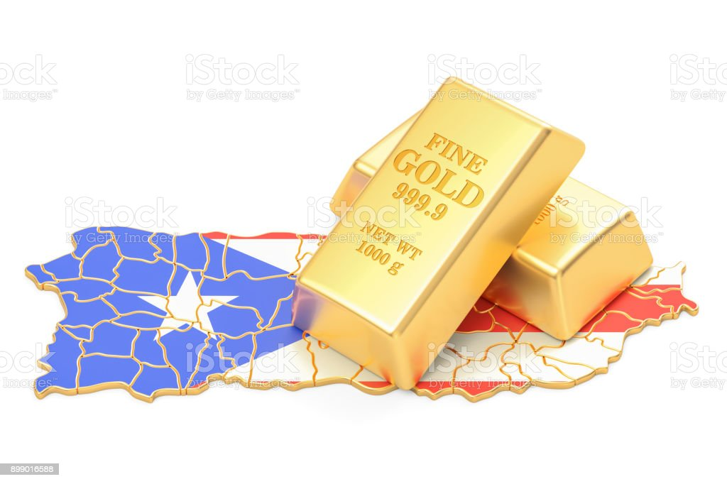 Golden reserves of Puerto Rico concept, 3D rendering isolated on white background stock photo