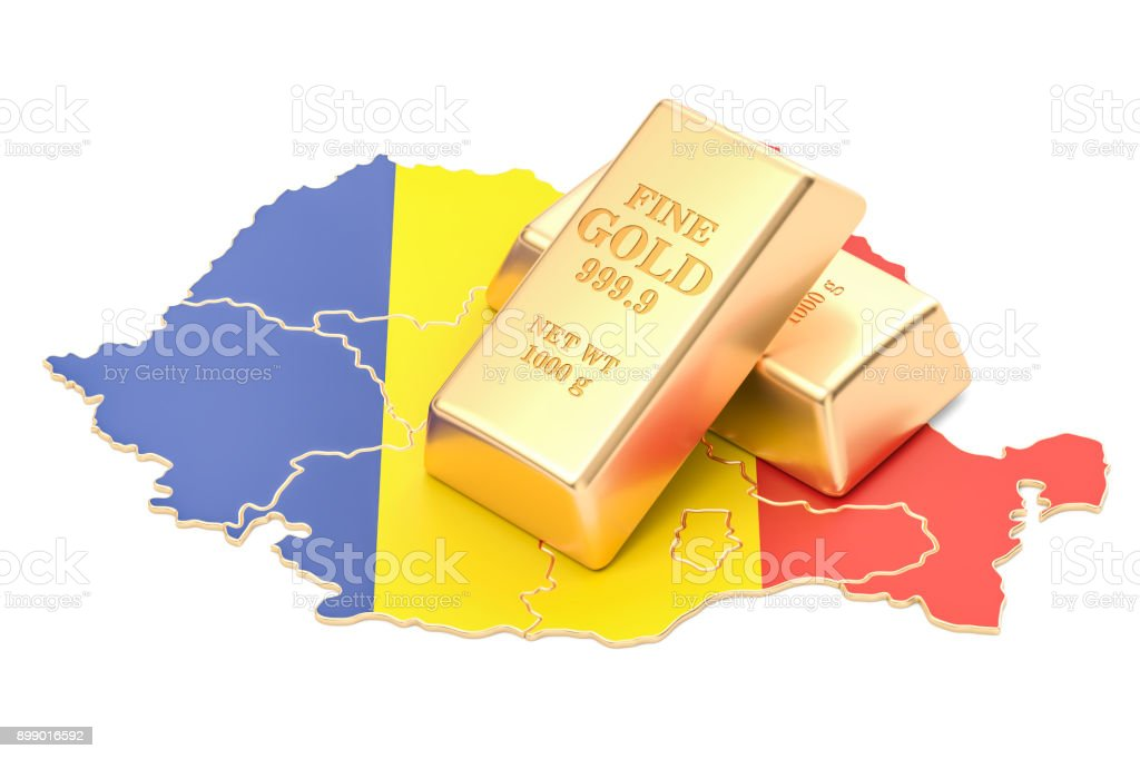 Golden reserves of Romania concept, 3D rendering isolated on white background stock photo