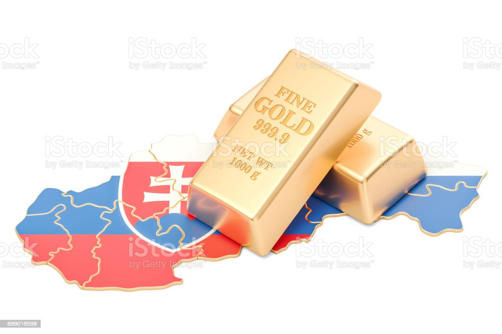 Golden reserves of Slovakia concept, 3D rendering isolated on white background stock photo