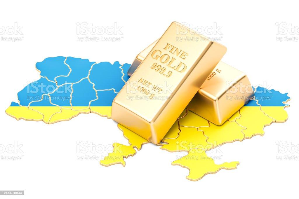 Golden reserves of Ukraine concept, 3D rendering isolated on white background stock photo