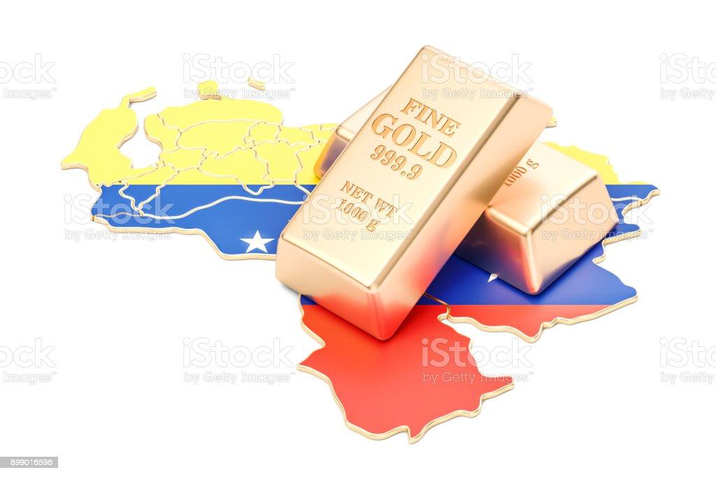 Golden reserves of Venezuela concept, 3D rendering isolated on white background stock photo
