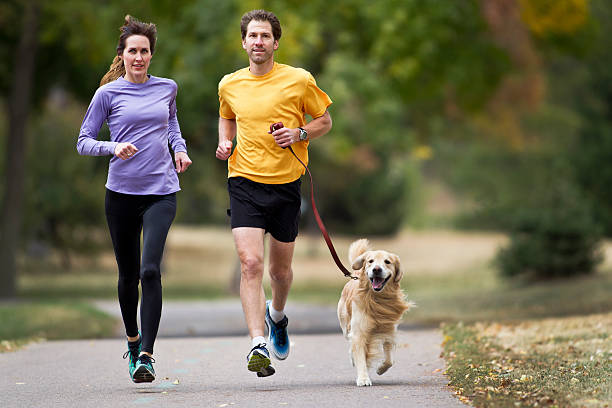 Golden Retriever , Man and Woman Jogging on a Paved Path.